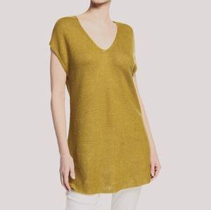 Eileen Fisher Organic Linen V Neck Tunic New L